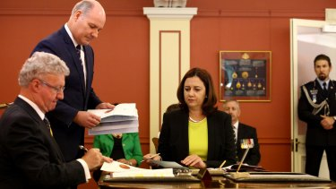 The new Queensland Labor State Premier, Annastacia Palaszczuk, was sworn in by Governor Paul de Jersey at Government House, on Saturday February 14, 2015 in Brisbane, Australia.