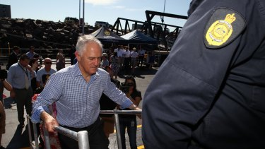 Mr Turnbull boards the Cape Jervis.