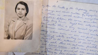 A photo and handwritten page from the Rosa Parks archive unveiled at the Library of Congress on February 3.