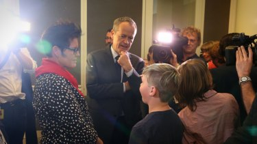 Opposition Leader Bill Shorten met with rainbow families at Parliament House on Tuesday.