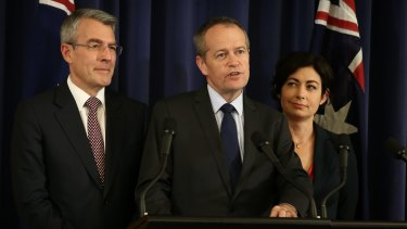 Opposition Leader Bill Shorten announces Labor's decision with Mark Dreyfus (left) and Terri Butler (right).