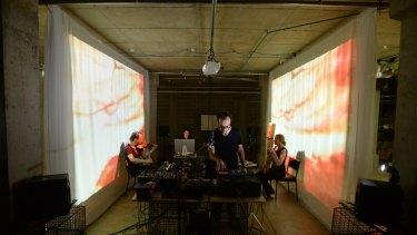 Classic: Erkki Veltheim, Sabina Maselli, Anthony Pateras and Natasha Anderson work on <i>Another Other</i>.