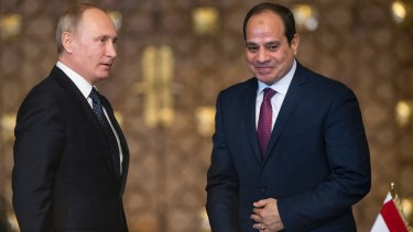Russian President Vladimir Putin, left, and Egyptian President Abdel-Fattah El-Sissi, following their talks in Cairo, Egypt, on Monday.