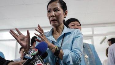 Thai Tourism Minister Kobkarn Wattanavrangkul speaks after visiting tourists injured during the bomb attacks.