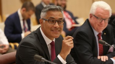 Ahmed Fahour, outgoing managing director and chief executive of Australia Post, and chairman John Stanhope before a Senate estimates hearing in February.