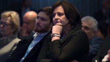 Cherie Blair looks on as her husband, former British PM Tony Blair, delivers a keynote speech at the pro-EU event.