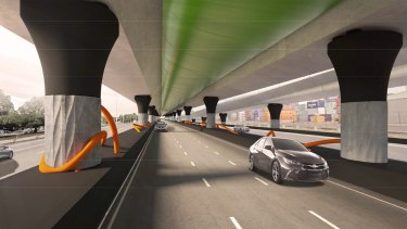 An artist's impression of what Footscray Road beneath the toll road will look like.