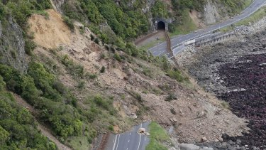 A landslide blocks State Highway One and the main trunk railway line north of Kaikoura following an earthquake in New Zealand in November.