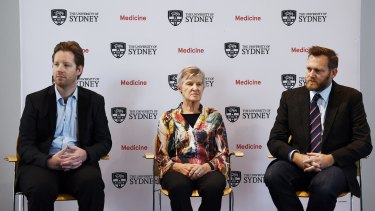 Dr Grant Hill-Cawthorne (left), Professor Lyn Gilbert and Dr Cameron Webb talk about the Zika virus at Sydney University on Tuesday.