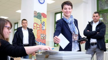 Head of the anti-immigrant Alternative for Germany (AfD), Frauke Petry, votes in Leipzig.
