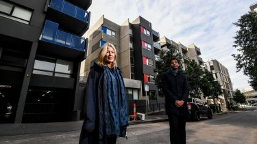 Melbourne University academics Kate Shaw and Abdullahi Jama in front of public (left), and private (right) apartments.