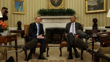 'I'm not comfortable here': Mr Abbott and Mr Obama's first meeting in the Oval Office in June.