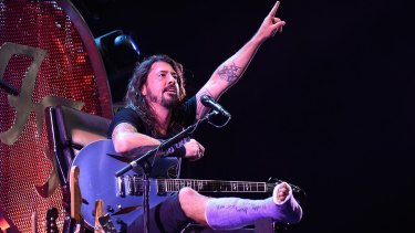 Dave Grohl on his throne at the Foo Fighters 20th Anniversary concert.