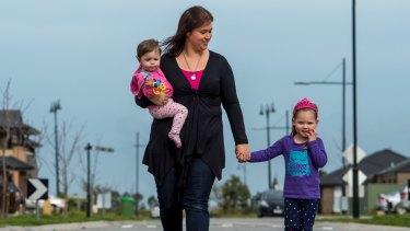 Tamara Hawkins with her girls  Emilia, aged three, and Chloe, one.
