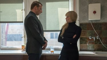 Matthias Schoenaerts and Jennifer Lawrence in <i>Red Sparrow</i>.