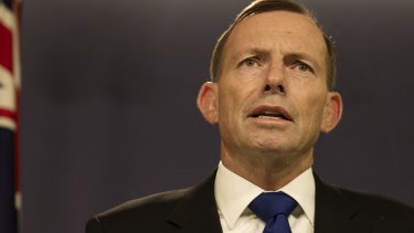 Prime Minister Tony Abbott gives a press conference at the Commonwealth Parliamentary Offices, Sydney.