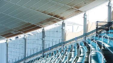 The roof of Allianz stadium shows the steelwork is corroding, while the timber supports in the roof are also decaying.