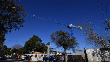 The crane on the corner of Foam Street and Ormond Road, Elwood.