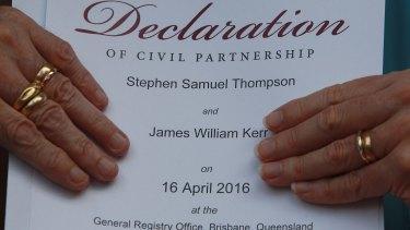 Jaime Kerr and Stephen Thompson's declaration of civil partnership.