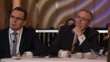 BHP chief Andrew McKenzie with Treasurer Scott Morrison.