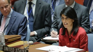 United States UN Ambassador Nikki Haley, right, speaks during United Nations Security Council meeting on North Korea's latest launch of an intercontinental ballistic missile on Wednesday.
