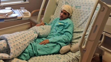 Thirteen-year-old Ahmed Manasra, who reportedly commited a stabbing attack in Pisgat Ze'ev in Jerusalem, is seen after treatment at the Hadassah Medical Centre in Jerusalem.
