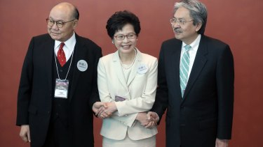 The three candidates for Hong Kong's chief executive: (from left)  retired judge Woo Kwok-hing, Hong Kong's former chief secretary Carrie Lam and Hong Kong's former financial secretary John Tsang.
