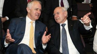 Prime Minister Malcolm Turnbull and former Prime Minister John Howard.