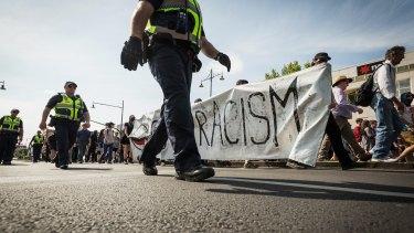 Anti-racism demonstrators on the streets of Bendigo.