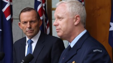 Mr Abbott pictured with Air Marshal Binskin during a 2015 press conference.