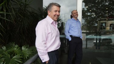 Pepper chief executives Patrick Tuttle (left) and Mike Culhane outside their office in North Sydney.