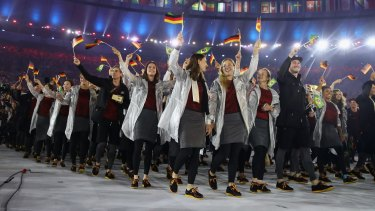 Members of the German team take part in the Opening Ceremony of the Rio 2016 Olympic Games at Maracana Stadium on August 5, 2016 in Rio de Janeiro, Brazil.