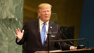 US President Donald Trump addresses the United Nations General Assembly on Tuesday.