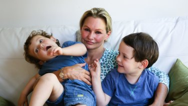 Danica Weeks, whose husband was on board MH370, with her children Lincoln and Jack.