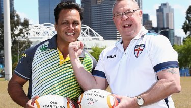 Mates: Steve Renouf and Garry Schofield are counting the days until the 2017 Rugby League World Cup.