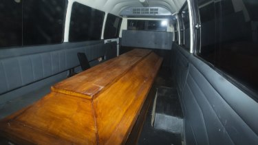 Coffins leave Wijaya Pura in Cilacap after the executions on Nusakambangan prison island.