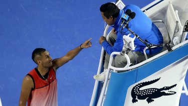 Ugly spat: Nick Kyrgios of Australia argues with the chair umpire during his third-round loss against Tomas Berdych.