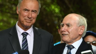 John Alexander and John Howard campaign in Eastwood last week.
