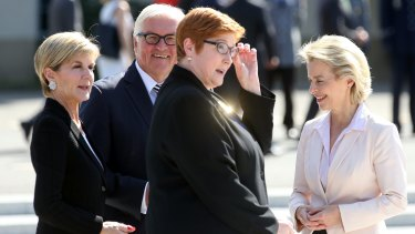German Minister of Foreign Affairs Frank-Walter Steinmeier and Defence Minister Ursula von der Leyen welcome Foreign Minister Julie Bishop and Defence Minister Marise Payne in Berlin.