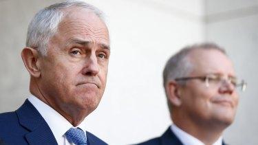 Retreat: Prime Minister Malcolm Turnbull and Treasurer Scott Morrison.