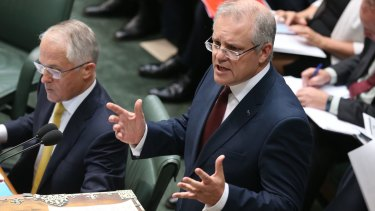 Treasurer Scott Morrison during question time in Parliament on Wednesday.
