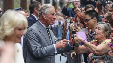 Prince Charles and Camilla meet the crowd in Sydney's Martin Place.