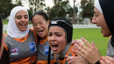 From left, Giants players Amna Karra-Hassan, Mandy Fung, Yashar Kammoun and Shayma Fatfat celebrate a win.