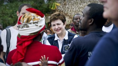 Kristalina Georgieva, centre, then European Commissioner for humanitarian aid.