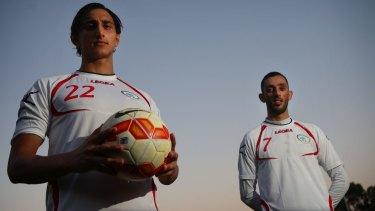 Proud: Palestine's Mahmoud Eid and Ashraf Nu'man at Wilson Park, Silverwater.