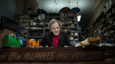 Jean Beanham, 92, at work at her desk at Modak Motorcycles.