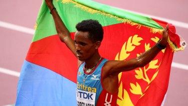 Ghirmay Ghebreslassie celebrates his victory.