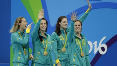 From left: Australia's Emma McKeon, Brittany Elmslie, Cate Campbell and Bronte Campbell take gold in the women's 4x100m freestyle relay in Rio.
