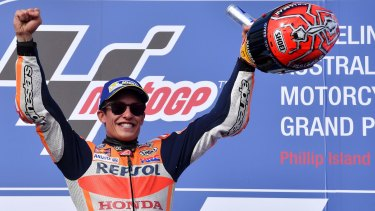 Winning ways: Spain's Marc Marquez celebrates on the podium after winning the Australian MotoGP at Phillip Island.