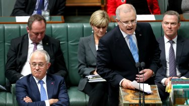 Prime Minister Malcolm Turnbull and Treasurer Scott Morrison during question time at Parliament House.